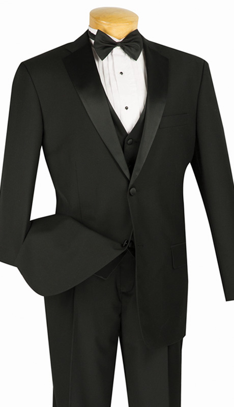 Vinci Mens Suit 4TV-1-BLK  ( 4pc Single Breasted Tuxedo With Vest And Bow Tie, Two Buttons, Single Pleated Pants With Flexible Waist Band )