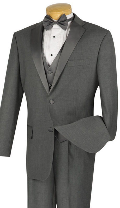 Vinci Mens Suit 4TV-1-GRA  ( 4pc Single Breasted Tuxedo With Vest And Bow Tie, Two Buttons, Single Pleated Pants With Flexible Waist Band )