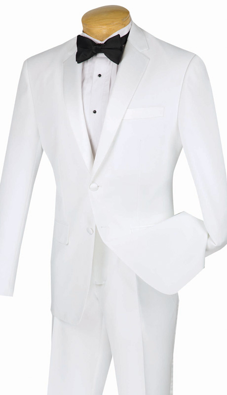 Vinci Mens Suit T-SLPP-WH ( 2pc Single Breasted Tuxedo, Two Button, Side Vent, Flat Front Pant, Solid Color )