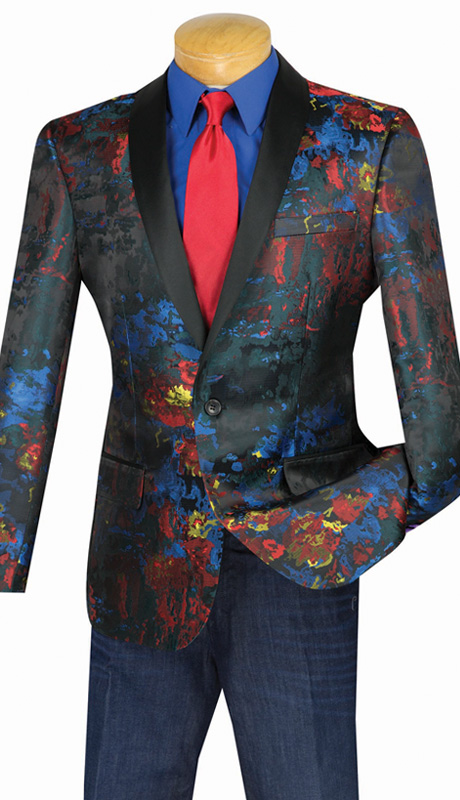 Vinci Mens Suit BSF-4 ( 1pc Single Breasted Sport Coat, Shawl Lapel, Side Vents )