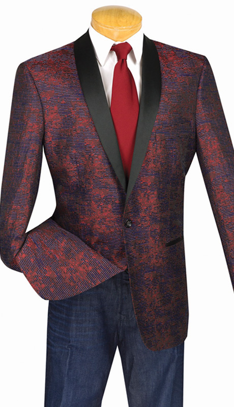 Vinci Mens Sport Coat BT-01-WI ( 1pc Single Breasted Sport Coat, One Button, Shawl Collar, Side Vents )