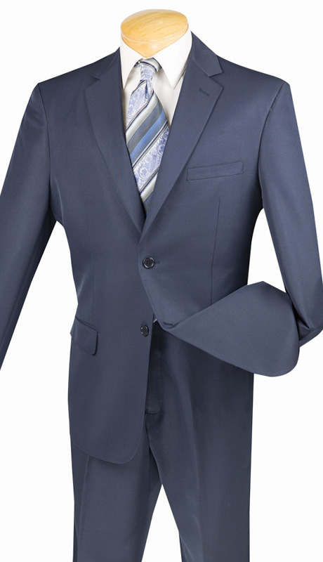 Vinci Mens Suit 2AA-NA ( 2pc Single Breasted, Two Button, Side Vents, Flat Front Pant With Flexible Waist-Band, Solid Color )