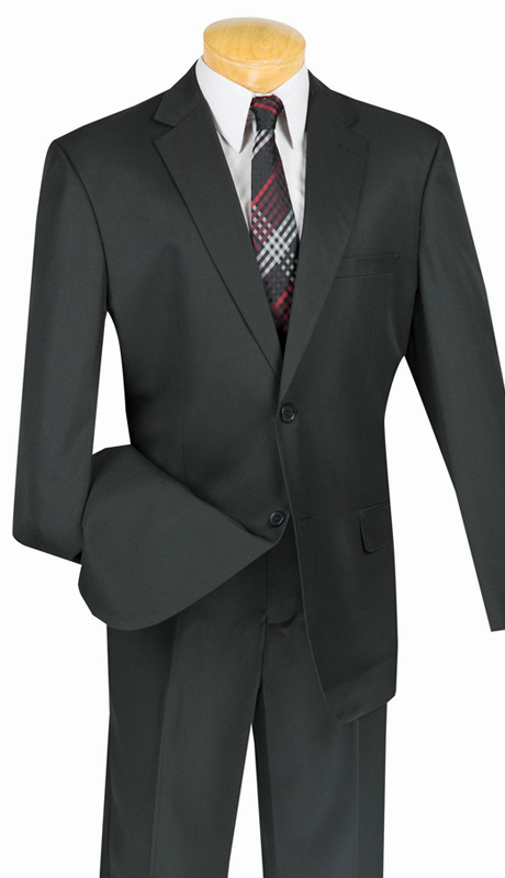 Vinci Mens Suit 2AA-BLK ( 2pc Single Breasted, Two Button, Side Vents, Flat Front Pant With Flexible Waist-Band, Solid Color )