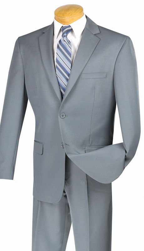 Vinci Mens Suit 2AA-GR ( 2pc Single Breasted, Two Button, Side Vents, Flat Front Pant With Flexible Waist-Band, Solid Color )