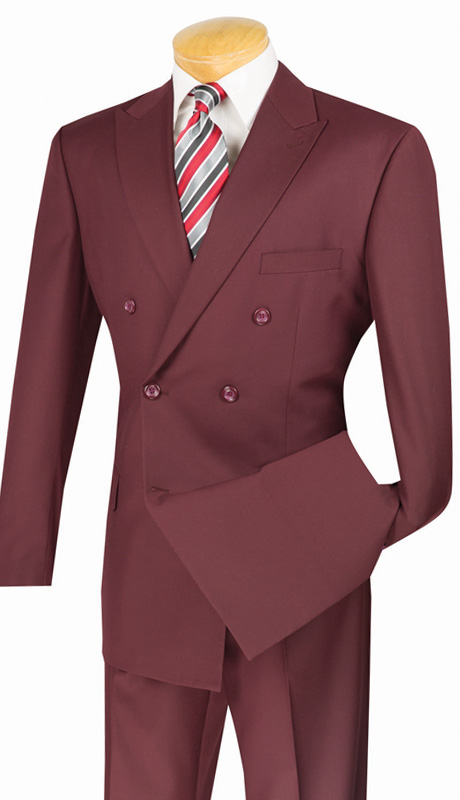 Vinci Mens Suit DC900-1-BUR ( 2pc Double Breasted, 6x2, Side Vents, Pleated Pant, Solid Color )