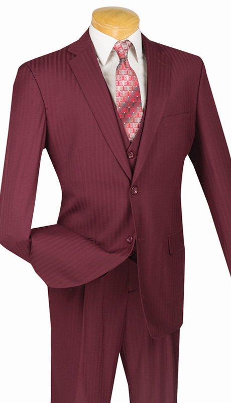 Vinci Mens Suit V2TT-8-BUR ( 3pc Single Breasted, Two Buttons, Side Vents, Vest, Single Pleated Pants, Tone On Tone Stripe )