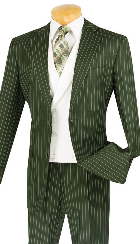 Vinci Mens Suit V2RS-6-OL ( 3pc Single Breasted, Two Buttons, With White Vest, Side Vents, Single Pleated Pants )