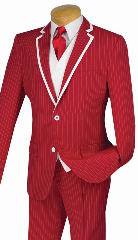 Vinci Mens Suit SVFF-1-RE ( 3pc Single Breasted With Fancy White Vest, Side Vents, Flat Front Pant, Fancy Stripe )