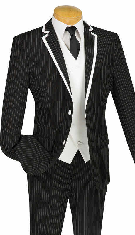 Vinci Mens Suit SVFF-1-BLK ( 3pc Single Breasted With Fancy White Vest, Side Vents, Flat Front Pant, Fancy Stripe )