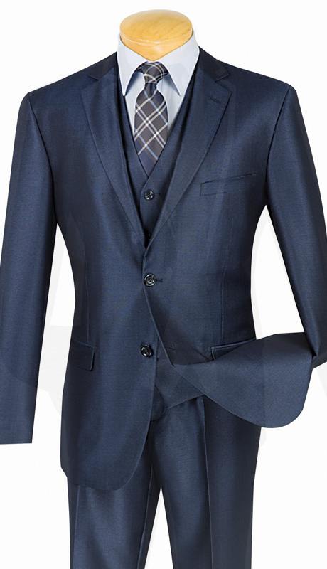 Vinci Mens Suit SV2R-3-BLU ( 3pc Single Breasted, Two Buttons, With Vest, Side Vents, Flat Front Pants, Solid Texture )