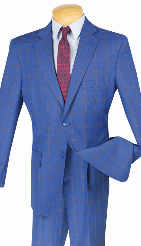 Mens Vinci Suit 2RW-3-BLU ( 2pc Single Breatsed, Two Buttons, Side Vents, Single Pleated Pants, Glen Plaid )