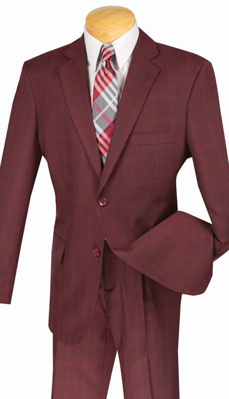 Mens Vinci Suit 2RW-3-BUR ( 2pc Single Breatsed, Two Buttons, Side Vents, Single Pleated Pants, Glen Plaid )