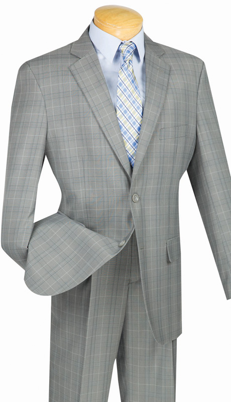 Mens Vinci Suit 2RW-3-GRA ( 2pc Single Breatsed, Two Buttons, Side Vents, Single Pleated Pants, Glen Plaid )