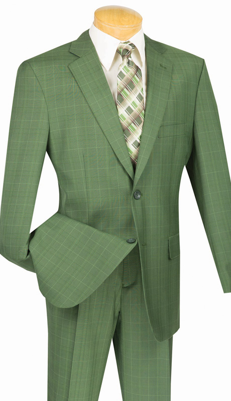 Mens Vinci Suit 2RW-3-OL ( 2pc Single Breatsed, Two Buttons, Side Vents, Single Pleated Pants, Glen Plaid )