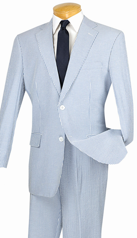 Vinci Mens Suit 2SS-1-NA  ( 2pc Single Breasted Two Buttons, Side Vents, Flat Front Pants, Striped Seersucker )