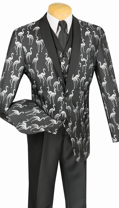 Vinci Mens Suit 23FM-1-BLK ( 3pc Single Breasted, Two Button, Side Vents, Single Pleated Pants, Flamingo Pattern )