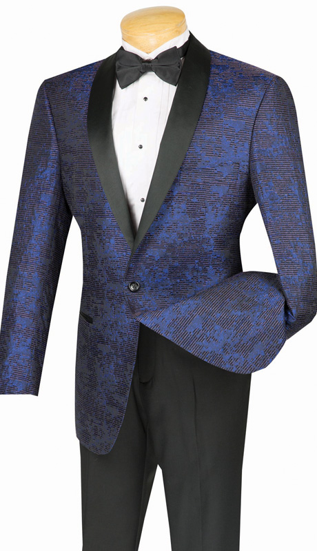 Vinci Mens Sport Coat BT-01-BLU ( 1pc Single Breasted Sport Coat, One Button, Shawl Collar, Side Vents )