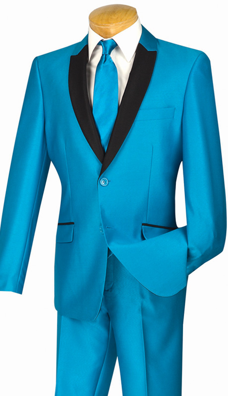 Vinci Mens Suit S2PS-1-TQ ( 2pc Single Breasted, Two Buttons, With Trimmed Shawl Lapel, Side Vents, Flat Front Pants, Shark Skin )