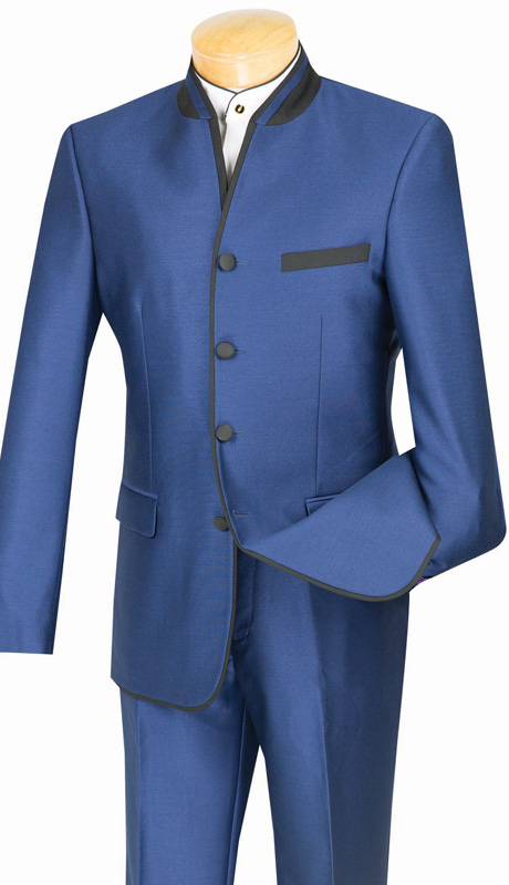 Vinci Mens Suit S4HT-1-BLU ( 2pc Single Breasted, Four Buttons, Side Vents, Flat Front Pants, Shark Skin, Banded Collar With Trim )