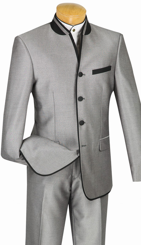 Vinci Mens Suit S4HT-1-GRA ( 2pc Single Breasted, Four Buttons, Side Vents, Flat Front Pants, Shark Skin, Banded Collar With Trim )