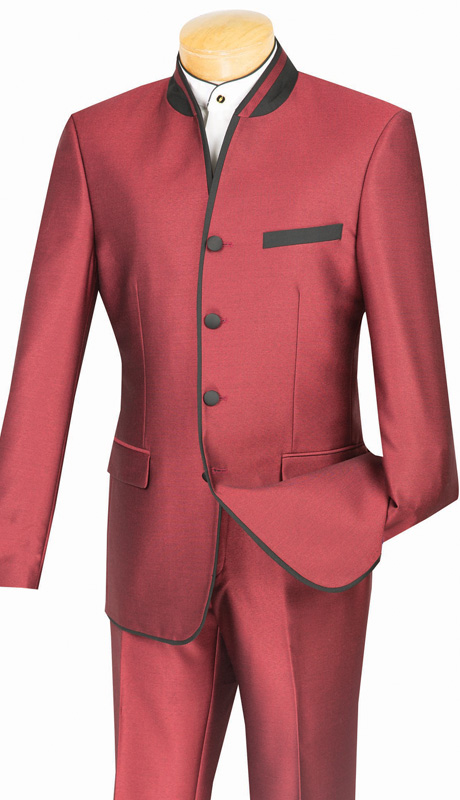 Vinci Mens Suit S4HT-1-WI ( 2pc Single Breasted, Four Buttons, Side Vents, Flat Front Pants, Shark Skin, Banded Collar With Trim )