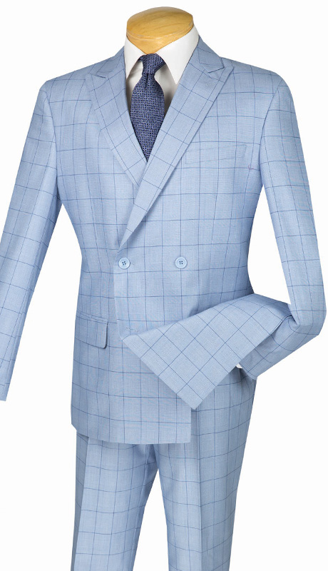 Mens Vinci Suit SD4W-1-BLU ( 2pc Double Breasted, Side Vents, Flat Front Pants, Fancy Window Pane )