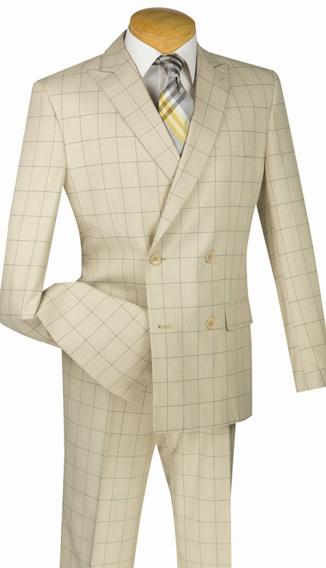 Mens Vinci Suit SD4W-1-TAN ( 2pc Double Breasted, Side Vents, Flat Front Pants, Fancy Window Pane )