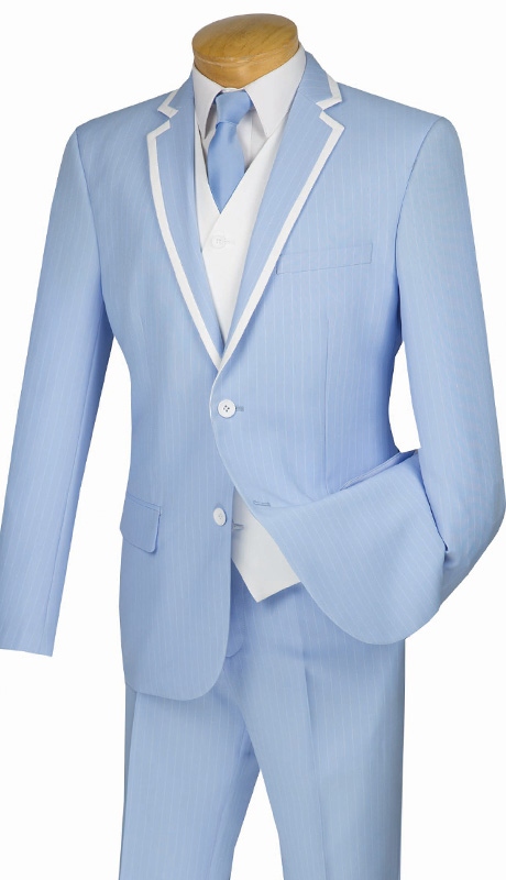 Mens Vinci Suit SVFF-1-BLU ( 3pc Single Breasted, Two Buttons, Side Vents, Flat Front Pants, Fancy White Vest, Fancy Stripe )