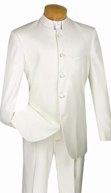 Vinci Mens Suit 5HT-IV ( 2pc Single Breasted, Five Button, Banded-Collar, Side Vents, Single Pleated Pant, Solid Color )