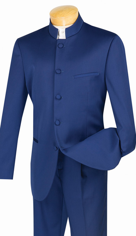 Vinci Mens Suit 5HT-NA ( 2pc Single Breasted, Five Button, Banded-Collar, Side Vents, Single Pleated Pant, Solid Color )