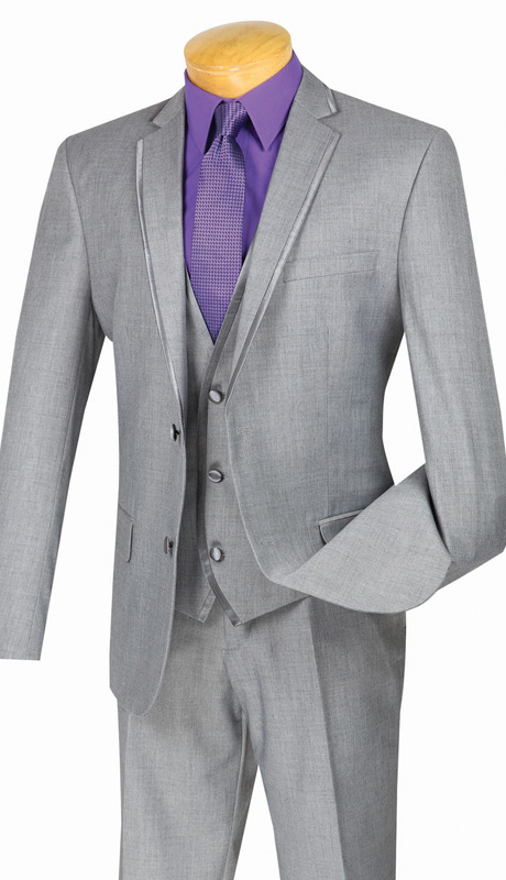 Vinci Mens Suit SV2T-8-GRA ( 3pc Single Breasted Tuxedo With Vest, Two Buttons, With Vest, Side Vents, Flat Front Pants, Textured Solid )