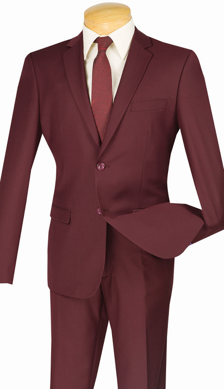 Vinci Mens Suit US900-1-BUR ( 2pc Single Breasted Two Buttons, Side Vents, Flat Front Pants, Solid Color )