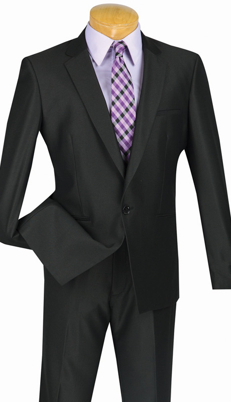 Vinci Mens Suit US1X-8-BLK ( 2pc Single Breasted, One Button, Center Vent, Flat Front Pants And Textured Weave )