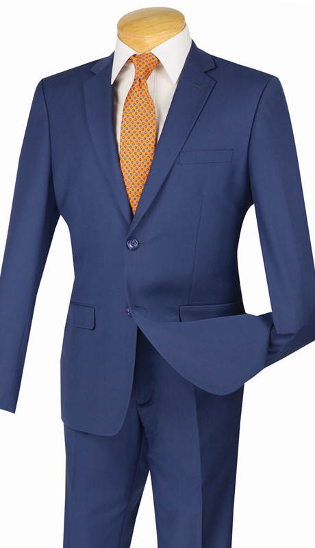 Vinci Mens Suit US900-1-IN ( 2pc Single Breasted Two Buttons, Side Vents, Flat Front Pants, Solid Color )