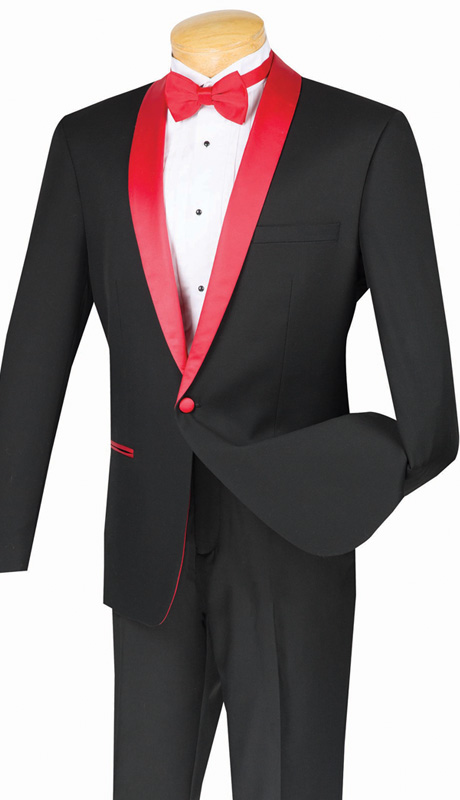 Vinci Mens Suit S1SH-2-RB ( 2pc Single Breasted, One Button, Shawl Lapel With Side Vents, Flat Front Pants, Solid Color )