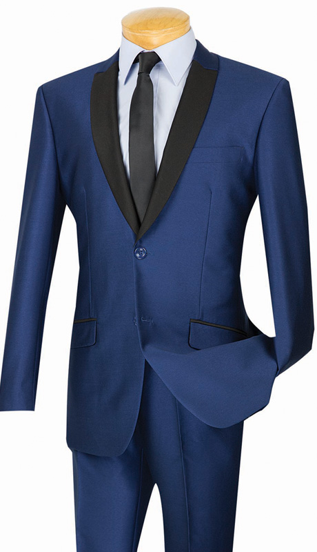 Vinci Mens Suit S2PS-1-NA ( 2pc Single Breasted, Two Buttons, With Trimmed Shawl Lapel, Side Vents, Flat Front Pants, Shark Skin )