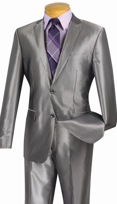 Vinci Mens Suit S2RK-5-GRA ( 2pc Single Breasted, Two Buttons, Side Vents, Flat Front Pants, SharkSkin )