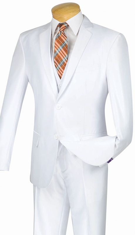 Vinci Mens Suit SV2R-2-WH  ( 3pc Single Breasted Two Buttons, Side Vents, Flat Front Pants, Textured Solid )