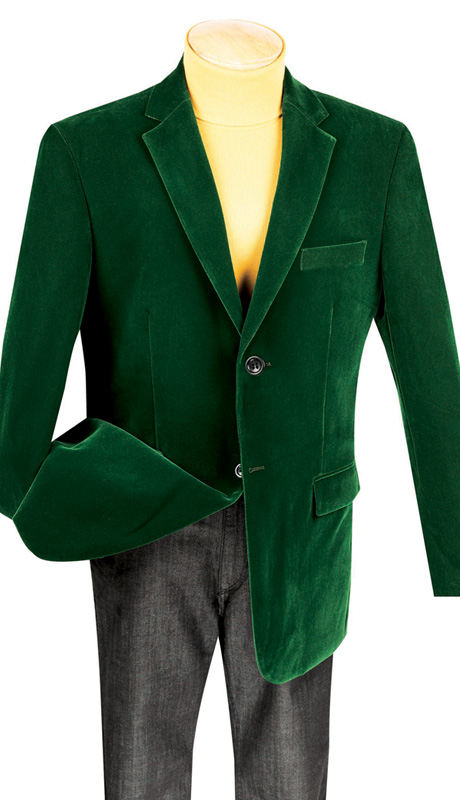 Vinci Mens Sport Coat B-19-OL ( 1pc Single Breasted, Two Buttons, Side Vents, Velvet Sport Coat )