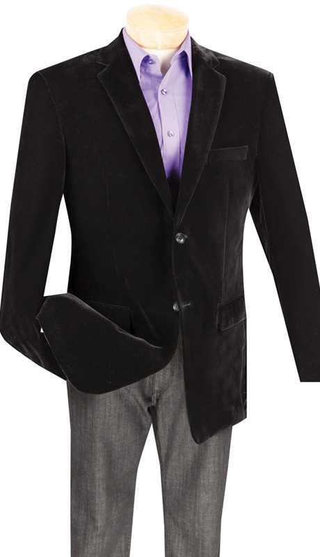 Vinci Mens Sport Coat B-19-BLK ( 1pc Single Breasted, Two Buttons, Side Vents, Velvet Sport Coat )