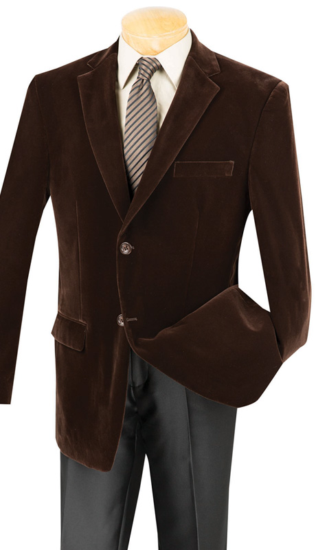 Vinci Mens Sport Coat B-19-BRN ( 1pc Single Breasted, Two Buttons, Side Vents, Velvet Sport Coat )