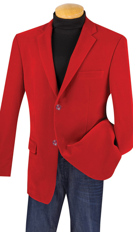 Vinci Mens Sport Coat B-19-RE ( 1pc Single Breasted, Two Buttons, Side Vents, Velvet Sport Coat )