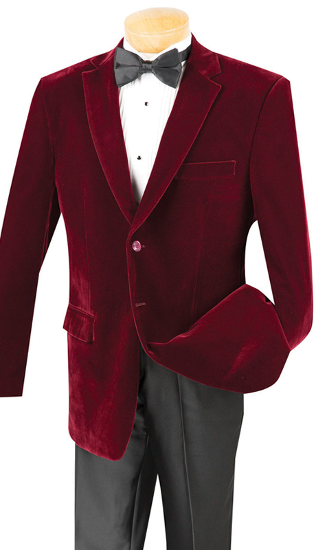 Vinci Mens Sport Coat B-19-WI ( 1pc Single Breasted, Two Buttons, Side Vents, Velvet Sport Coat )