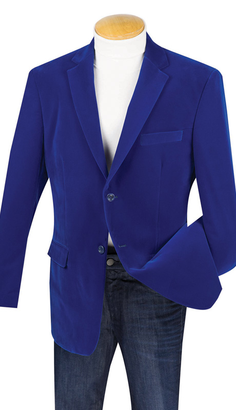 Vinci Mens Sport Coat B-19-ROY ( 1pc Single Breasted, Two Buttons, Side Vents, Velvet Sport Coat )