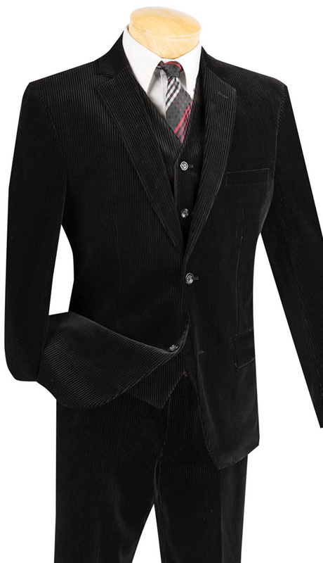 Vinci Mens Suit CORD-1-BLK ( 2pc Single Breasted With Vest, Two Buttons, Side Vents, Flat Front Pants, Corduroy )