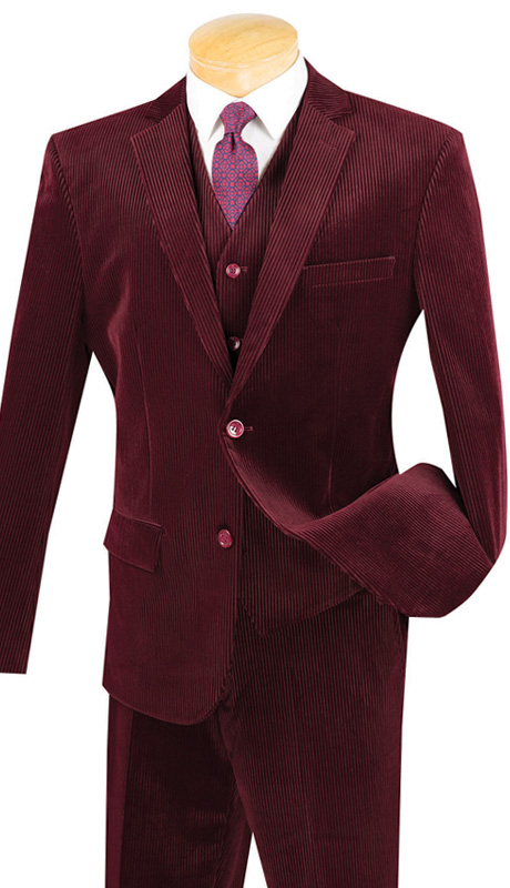 Vinci Mens Suit CORD-1-BUR ( 2pc Single Breasted With Vest, Two Buttons, Side Vents, Flat Front Pants, Corduroy )