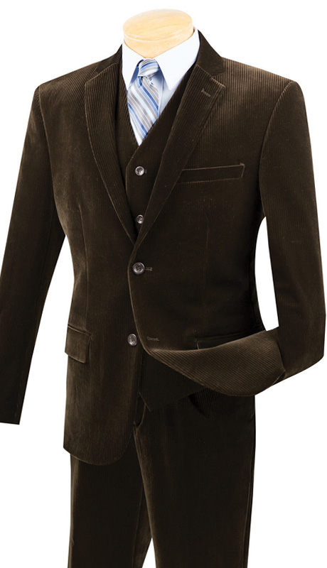 Vinci Mens Suit CORD-1-BRN ( 2pc Single Breasted With Vest, Two Buttons, Side Vents, Flat Front Pants, Corduroy )