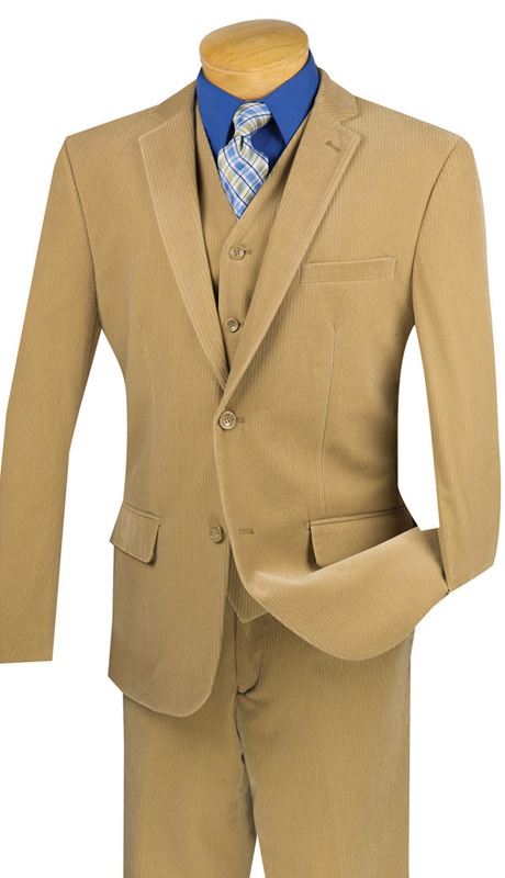 Vinci Mens Suit CORD-1-KH ( 2pc Single Breasted With Vest, Two Buttons, Side Vents, Flat Front Pants, Corduroy )