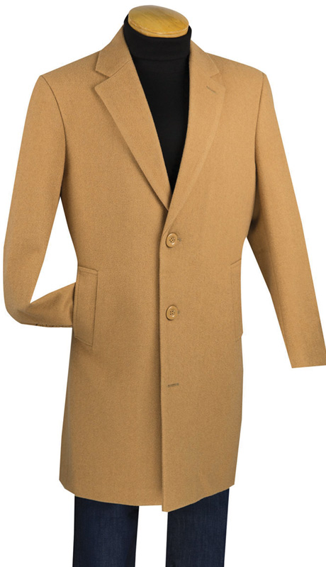 Vinci Men's Coat CS38-1-CA ( Cashmere Wool Blend, 38 Inch Long )