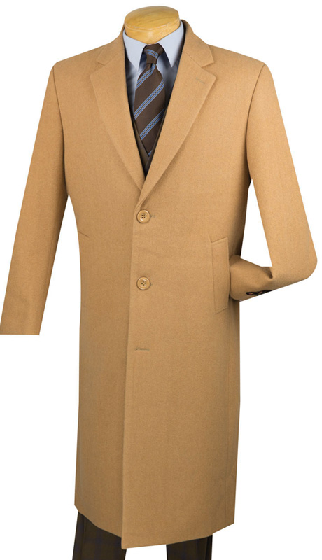 Vinci Mens Coat CL48-1-CA ( 1pc Single Breasted Three Buttons, 48 Inch Full Length, Solid Color )